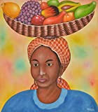 Home Decor Wall Canvas Painting Hand Painted On Canvas 20'' W x 24'' H Africa Native African Indian Tribe Caribbean Market Woman With Basket Fruits Portrait (Unframed) Canvas Wall Art 9