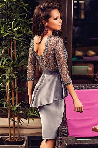 Nuevas señoras plata y de terciopelo gris encaje peplum vestido Club Wear vestidos de noche fiesta Prom Boda ocasión especial Tamaño M UK 10UE 38