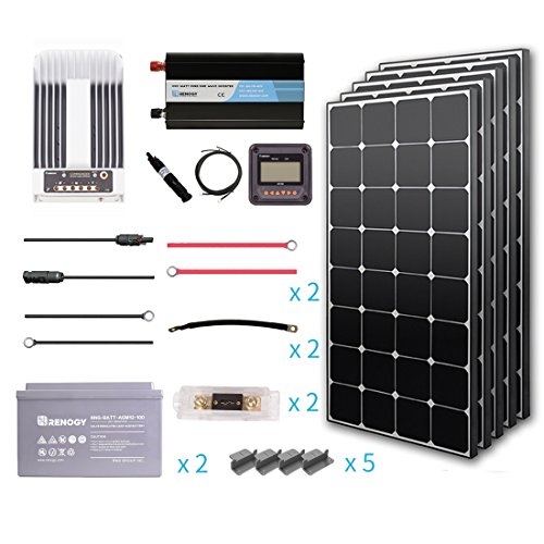 Renogy 500 Watt 12 Volt Premium Solar Complete Kit Monocrystalline with MPPT Charge Controller +Mounts+ 100AH AGM Battery+ 1000W Pure Sinve Inverter