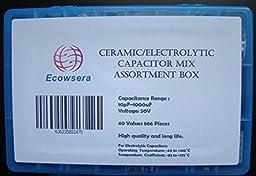 40 Value 866 Pcs Ceramic Electrolytic Capacitor Mix Assortment Box