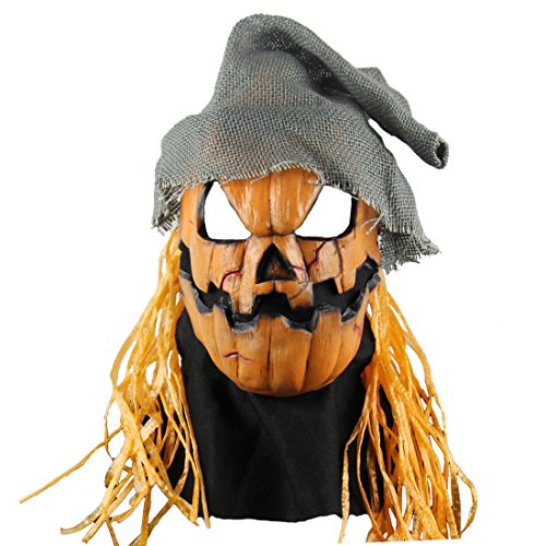 Scary Pumpkin (Halloween latex masks scary zombie costumes Cosplay pumpkin head masks)