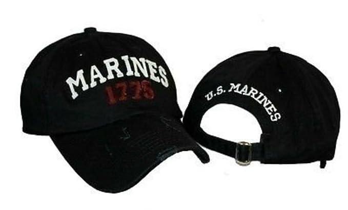 Embroidered Black Marines USMC Marine 1775 Distressed Baseball Cap ... 15a240b5f88