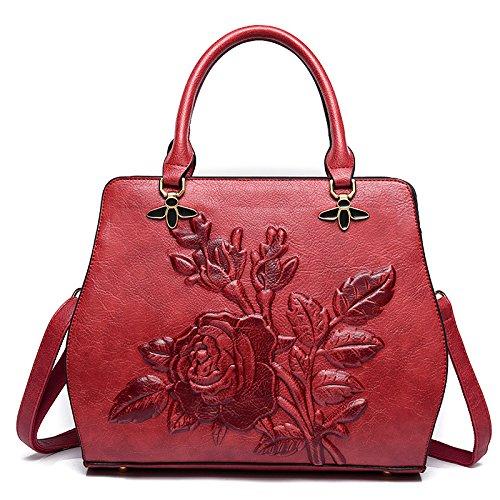 ZM Borsa Da Donna Nuovo Stile Cinese Tridimensionale Borse A Tracolla In Rilievo Borsa A Tracolla Peony Flower Fashion Wild Bag Red
