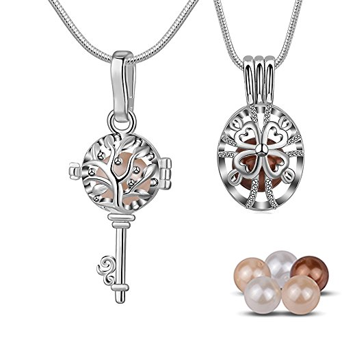 INFUSEU Tree of Life Key Necklace, 4 Leaf Clover Cross Necklace, 6 PCS Shell Pearls, 24