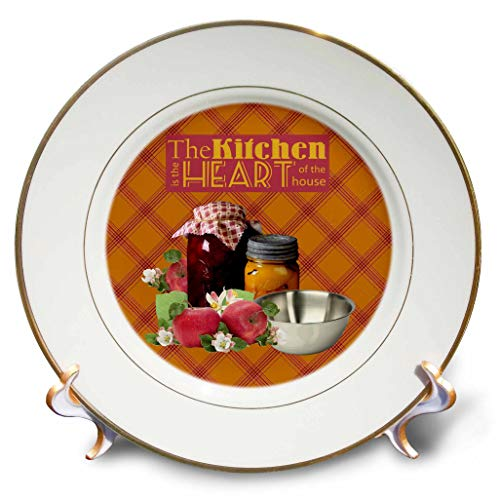 3dRose Beverly Turner in The Kitchen Design - Heart of The House, Canned Fruit, Bowl, Apples on Red and Brown Plaid - 8 inch Porcelain Plate (cp_308976_1) ()