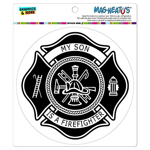 Graphics and More Firefighter Firemen Maltese Cross My Son is a Automotive Car Refrigerator Locker Vinyl Magnet