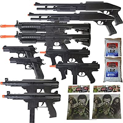 MEGA AIRSOFT PARTY PACKAGE - 10 DOA 6mm Airsoft Guns Rifles + 40 Zombie Targets + 2,000 6mm BBs