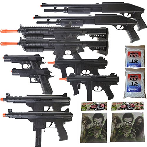 MEGA AIRSOFT PARTY PACKAGE - 10 DOA 6mm Airsoft Guns Rifles + 40 Zombie Targets + 2,000 6mm BBs by Dark Ops Airsoft