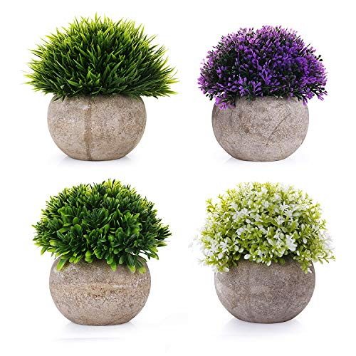 EKKONG Artificial Plants Mini Plants Fake Plastic Green Colorful Flower Topiary Shrubs with Gray Pot for Home Décor Bathroom Small Artificial Faux Greenery Potted Plants -4 Pack