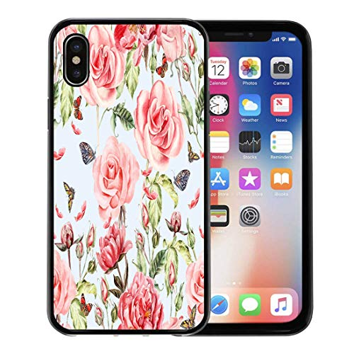 Emvency Phone Case for Apple iPhone Xs Case/iPhone X Case,Colorful Abstract Pattern Watercolor Realistic Rose Peony and Butterflies Soft Rubber Border Decorative, Black