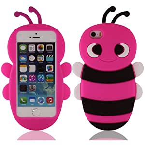 Suave silicona goma abeja protector carcasa funda cubierta case cover housing para iPhone 5 5G 5S(no puede caber 5C)_rosa