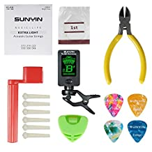 Acoustic Guitar Tool,Kit for Starter with Guitar String Winder Cutter Tuner Bridge Pins Picks & Pick Hoder,Everything for Change the String (ordinary)