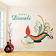 DreamKraft Happy Diwali Removable Wall Decor Art Stickers Vinyl Decals Home Decor for Living Room & Kids bedroom(26X22 Inch)