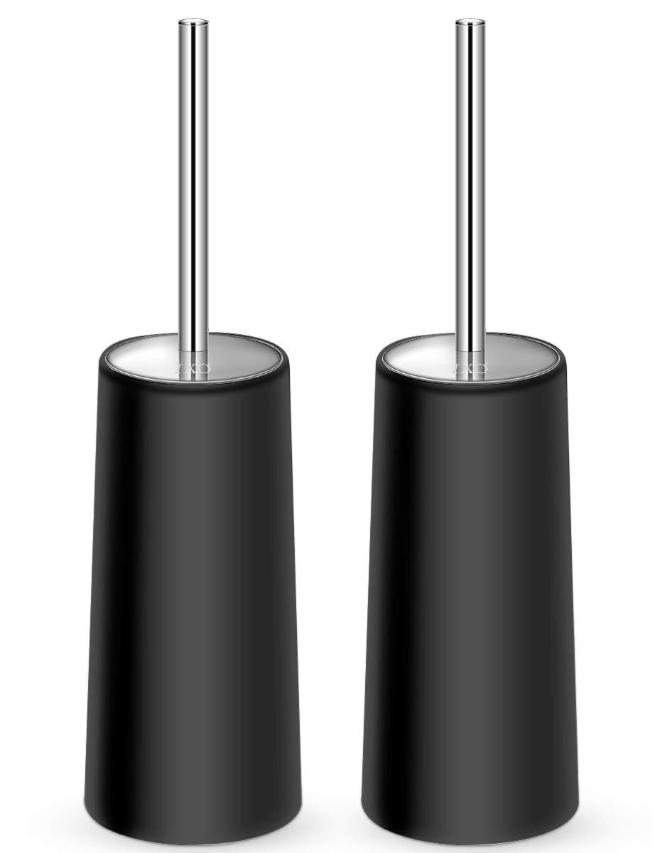 IXO Toilet Brush and Holder, 2 Pack Toilet Brush with 304 Stainless Steel Long Handle, Toilet Bowl Brush for Bathroom Toilet-Ergonomic, Elegant,Durable(Black) by IXO