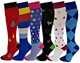 6 Pairs Pack Women Travelers, Anti-Fatigue, Graduated Compression Knee High Socks 9-11 (Assorted #6)