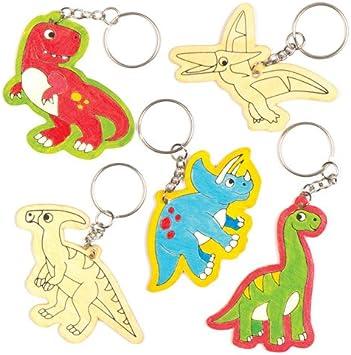 Llaveros de Madera con Dinosaurios Que los niños Pueden Colorear, Decorar y Personalizar - Juego de Manualidades Creativas para niños (Pack de 6).: Amazon.es: Juguetes y juegos