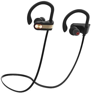 Auriculares Bluetooth inalámbricos dorados deportivos con micrófono y gancho para los oídos, resistentes al agua