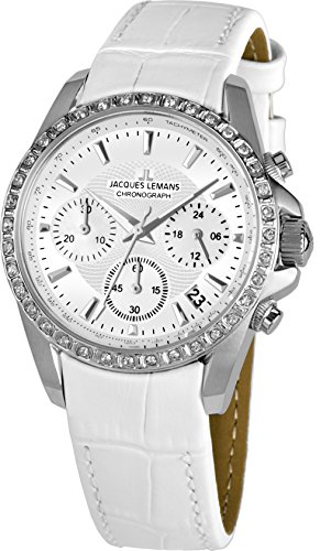 Jacques Lemans Women's Sport Liverpool 35mm White Leather Band Steel Case Quartz Analog Watch 1-1864A