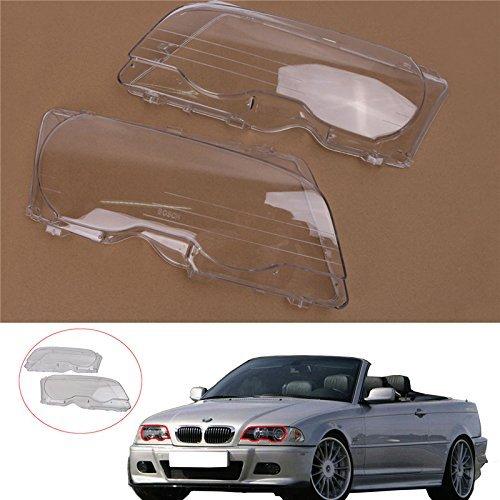Kawayee1 Pair Halogen Headlight Lens Plastic Shell Cover for BMW E46 (2000-2003) M3 323ci 325ci 328ci 330ci 2-Door ()