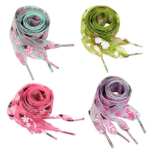 Print Shoelaces - GOOTRADES 4 Pairs Flat Chiffon Shoelaces with Flower Prints for Kids, Youths & Women's Sneakers,120cm /47 inch (4 Colors-set)