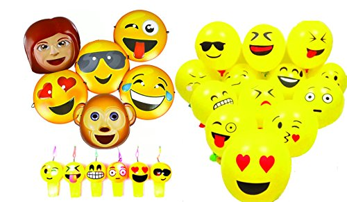 [Charmed emoji party decoration and favor set includes balloons, mask and Jumbo light up whistles] (Smiley Latex Mask)
