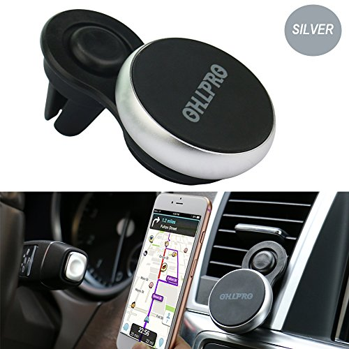 OHLPRO Magnetic Phone Holder for Car,Air Vent Mount Upgrade Six Pieces Magnet,Metal Aluminum Frame for iPhone Samsung HTC SONY All Smartphones GPS Mobile (Holder 6 Piece)
