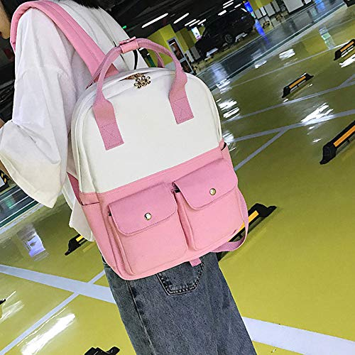 Color Vhvcx Bolsa Reproducción De Moda Mochila E Asas Lady Estudiante Del Hombro Lienzo ZCCFKpr