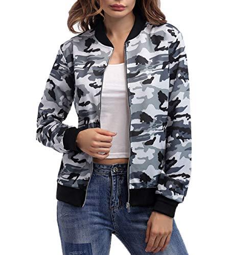 Smalltile Otoño Mujeres Bomber Chaquetas Casual Manga Larga Outwear Cazadora Personalidad Coat Moda Camuflaje Jacket Ropa de Abrigo Tops con Cremallera Primavera