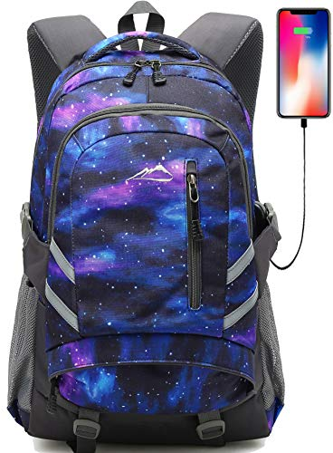 Backpack Bookbag for School College Student Sturdy Travel Business Laptop Compartment with USB Charging Port Luggage Chest Straps Night Light Reflective (Galaxy Color C) (The Best Cheap Laptops For Students)