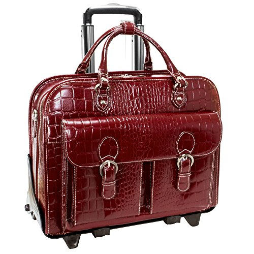 Italian Leather Ladies Wheeled Detachable Laptop Case (Cherry Red)