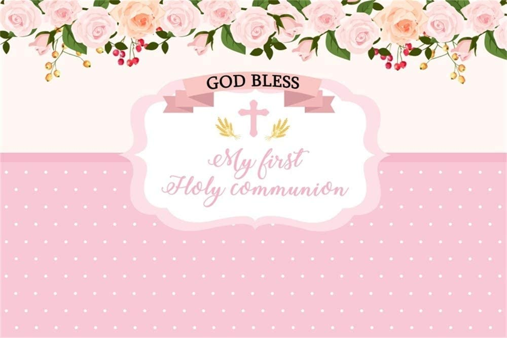 AOFOTO 6x4ft Cross God Bless Photography Background Pink Baby Girl My First Holy Communion Baptism Flowers Backdrop Newborn Party Decorations Kid Infant Children Portrait Photo Studio Props Vinyl