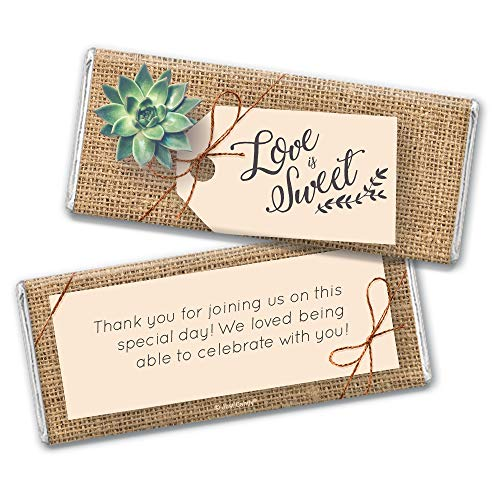 Succulent Themed Wedding Favors for Guests Chocolate Bar Wrappers (24 Count) Bridal Shower Favors for Guests Wrappers for Wedding Candy Bars (Wedding Chocolate Bars)