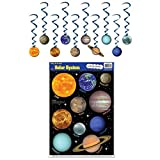 Solar System Science STEM Classroom Decoration Set (Includes Peel 'N Place Window Clings and Hanging Whirls)
