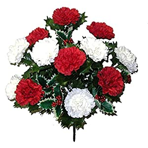 Admired By Nature AC006-RD/CM_1 14 Stems Faux Blooming Carnation Berry Flower Bush 9
