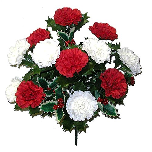 - Admired By Nature AC006-RD/CM_1 14 Stems Faux Blooming Carnation Berry Flower Bush,