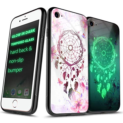 iPhone 8 Case, iPhone 7 / iPhone 6S / iPhone 6 Case (4.7 inch), NageBee Tempered Glass Hard Back [Glow in Dark] Anti-Scratch Shock Proof Ultra Slim Non-Slip Bumper Cover Cute Case -Dream Catcher (Glow In The Dark Phone Case Iphone 6)