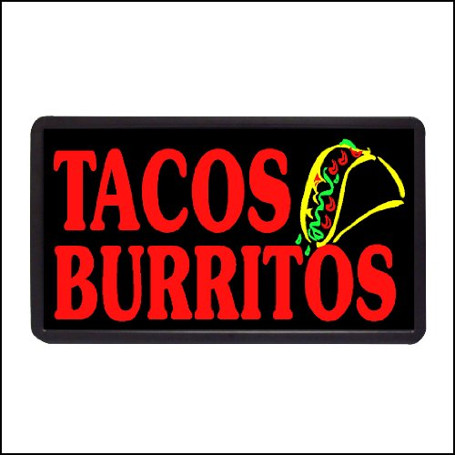 Tacos Burritos Backlit Illuminated Electric Window Sign -...