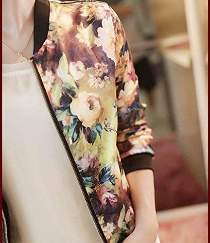 Ularma De las mujeres chaqueta, Collar del soporte y de manga larga, flores impresas Multicolor