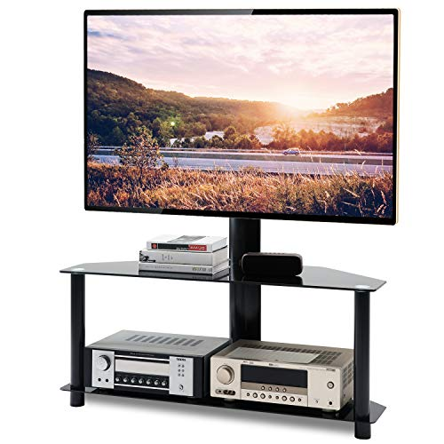 TAVR Swivel Floor TV Stand with Height Adjustable Mount Bracket for 32 37 42 47 50 55 60 65 inch Plasma LCD LED Flat or Curved Screen TVs,2-Tier Tempered Glass Shelves for Media,110 Lbs,Black TW1005