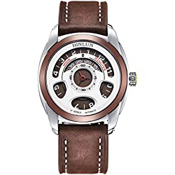 BINLUN Mens Unique Casual Large Face Round Analog Designer Waterproof 30m Brown Calfskin Bracelet Watch