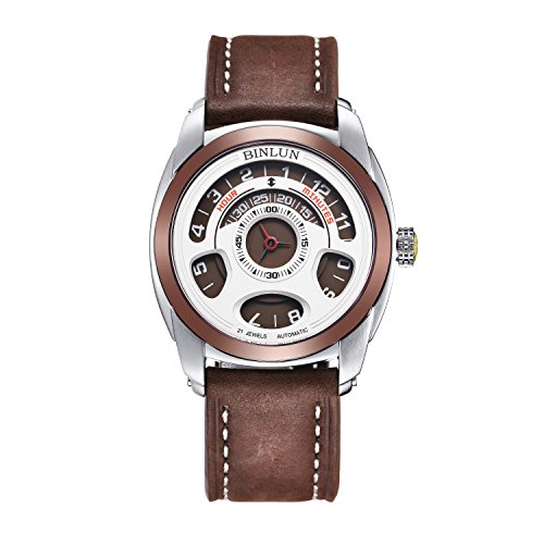 BINLUN-Mens-Unique-Casual-Large-Face-Round-Analog-Designer-Waterproof-30m-Brown-Calfskin-Bracelet-Watch