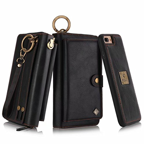 Executive Plus Notebook Case - Petocase Compatible iPhone 8 Plus/iPhone 7 Plus Wallet Case, Multi-Function Zipper Purse Detachable Magnetic Back Cover Wristlets 13 Card Slots & 4 Cash Pocket for Apple iPhone 8 Plus/7 Plus, Black