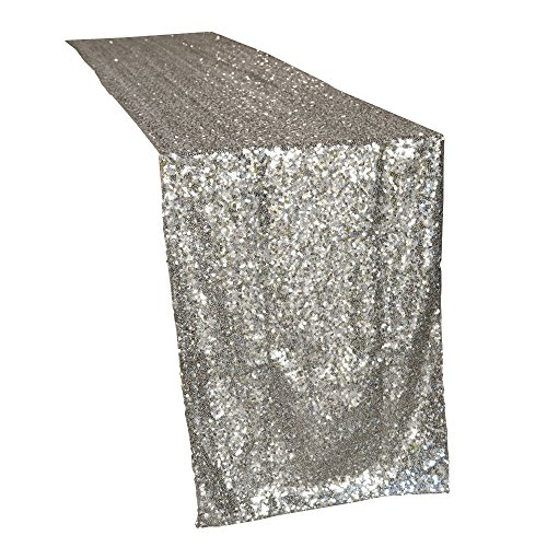 Lansian Premium Quality Luxury Sparkly Sequin Champagne Table Runner Covers Glitter Tablecloth Rectangle for Wedding Birthday Party Decorations Silver, Rose Gold (12 inches x 108 inches, Champagne) ()