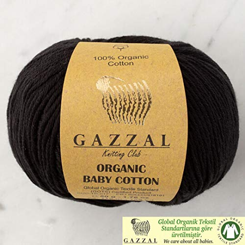 5 Ball (Pack) Gazzal Organic Baby Cotton Yarn, Total 8.8 Oz. 100% Organic Cotton, Each 1.76 Oz (50g) / 125 Yrds (115 m), 3 Light DK, Black - - Organic Each Cotton