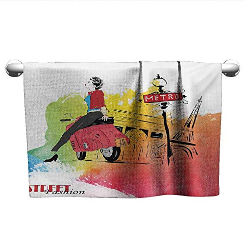 alisoso Girls,Hair Towels for BoysWoman on a Pink Motorcycle Trend Vogue Fashion in Paris Eiffel Tower Art Print Hand Towel for Bathroom Red and Orange W 24