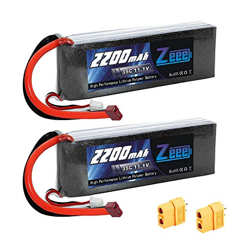 Zeee 2200mAh 3S 11.1V 35C Rechargeable LiPo Battery Pack with Deans (XT60) Connector for DJI Airplane RC Quadcopter Drone and FPV (2Pcs) ()