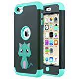 ULAK iPod 5 case, iPod Touch 6 Case Hybrid 3 Layer Silicone Shockproof Hard Case Cover for Apple iPod Touch 5th/6th Generation (Mint Cat)