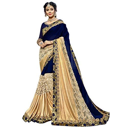 (Craftsvilla Women's Georgette Resham Embroidered Saree With Blouse Piece Free Size Blue)