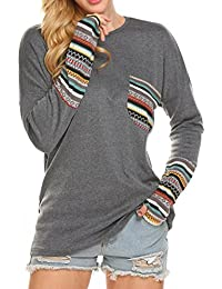 Women's Long Sleeve O-Neck Patchwork Casual Loose...