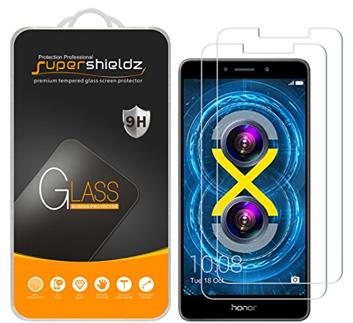 [2-Pack] Supershieldz for Huawei (Honor 6X) Tempered Glass Screen Protector, Anti-Scratch, Anti-Fingerprint, Lifetime Replacement